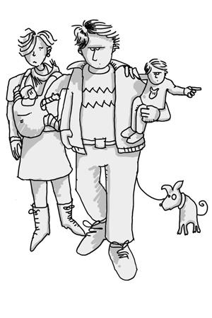 Die Charaktere junge Familie im Trickfilm