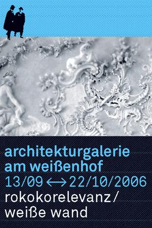 Ausstellungsplakat Rokokorelevanz in der Architekturgalerie am Weißenhof