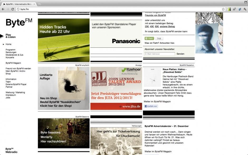 Screenshot Webseite Byte.FM