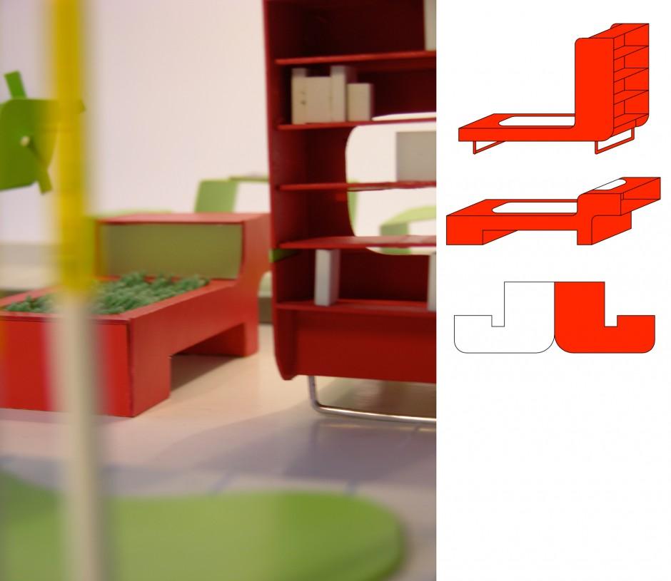 Modellfoto Lesemöbel mit Regalflächen